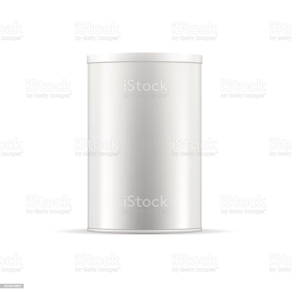 White tin can with cap. Vector round container for products. vector art illustration