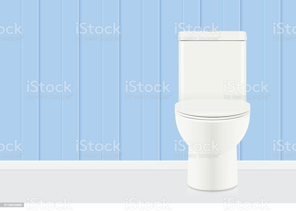 White toilet bowl in blue bathroom. vector art illustration
