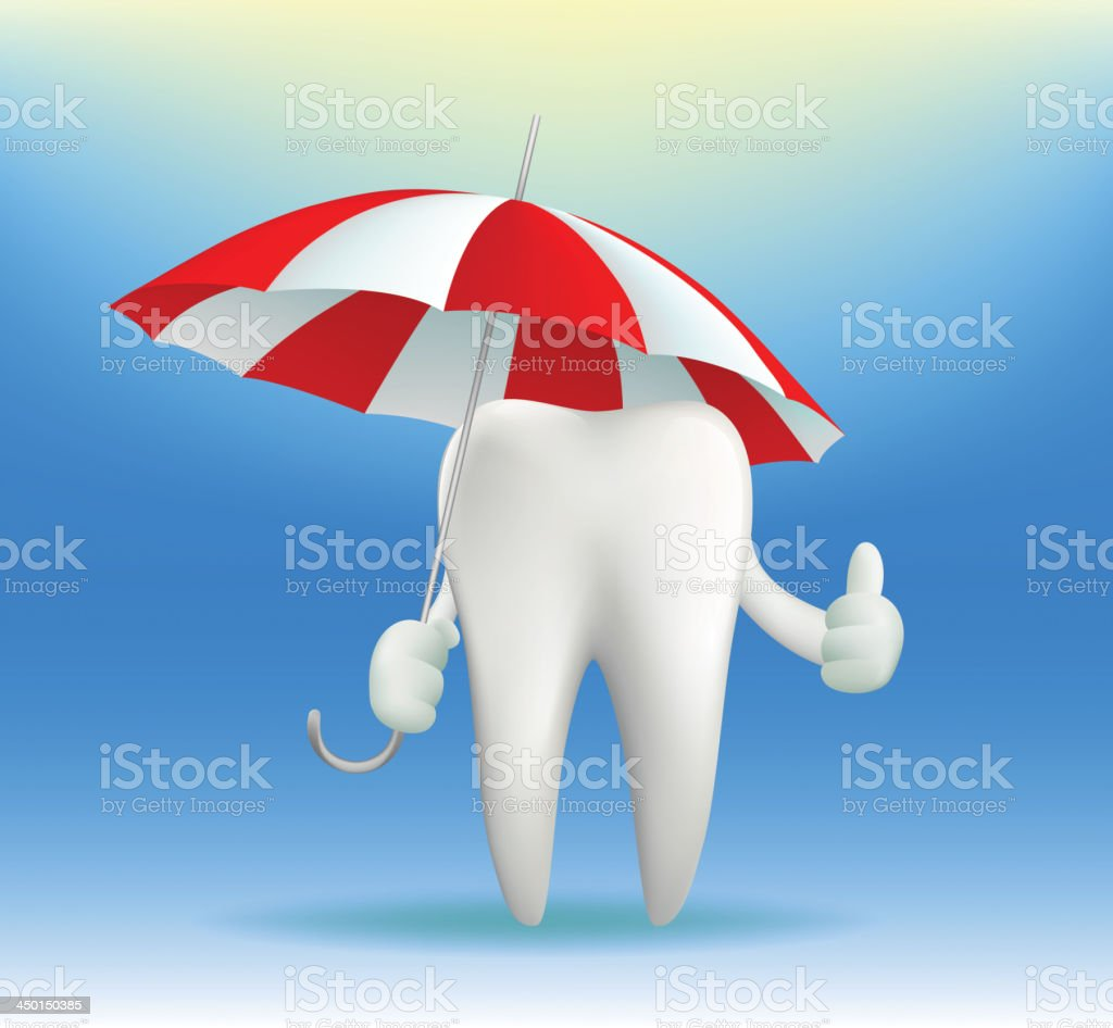 white tooth under an umbrella royalty-free stock vector art