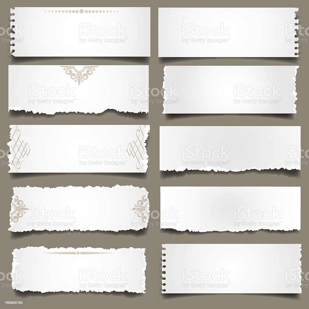 White torn Paper Notes royalty-free stock vector art