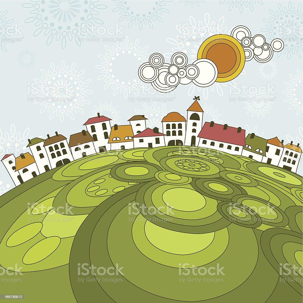 White town landscape vector art illustration