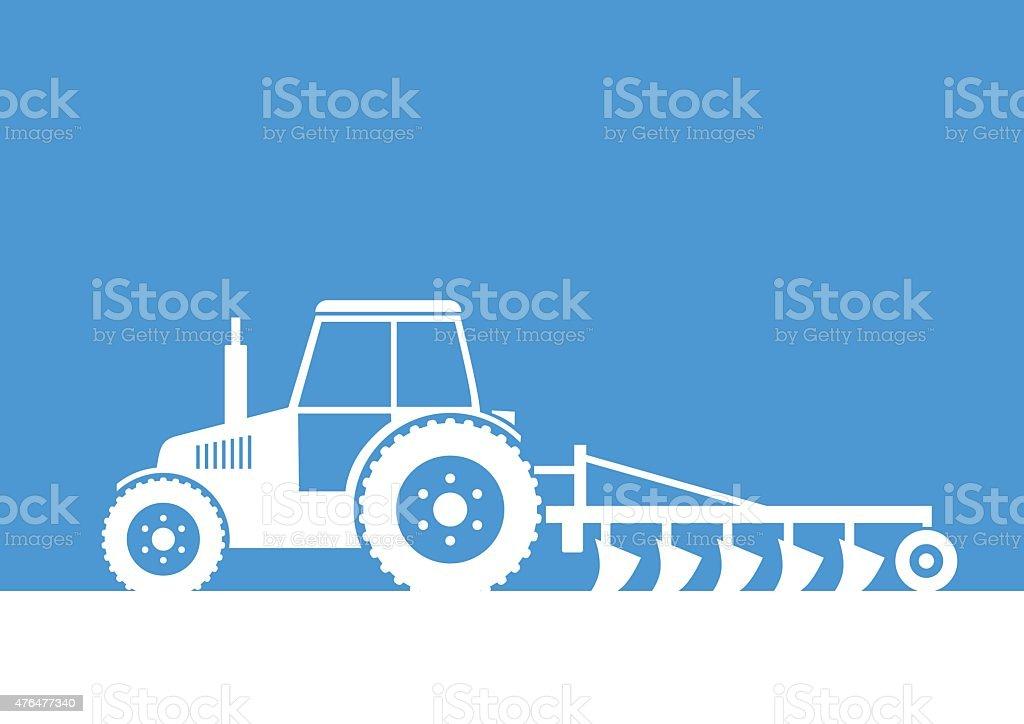 White tractor icon vector art illustration