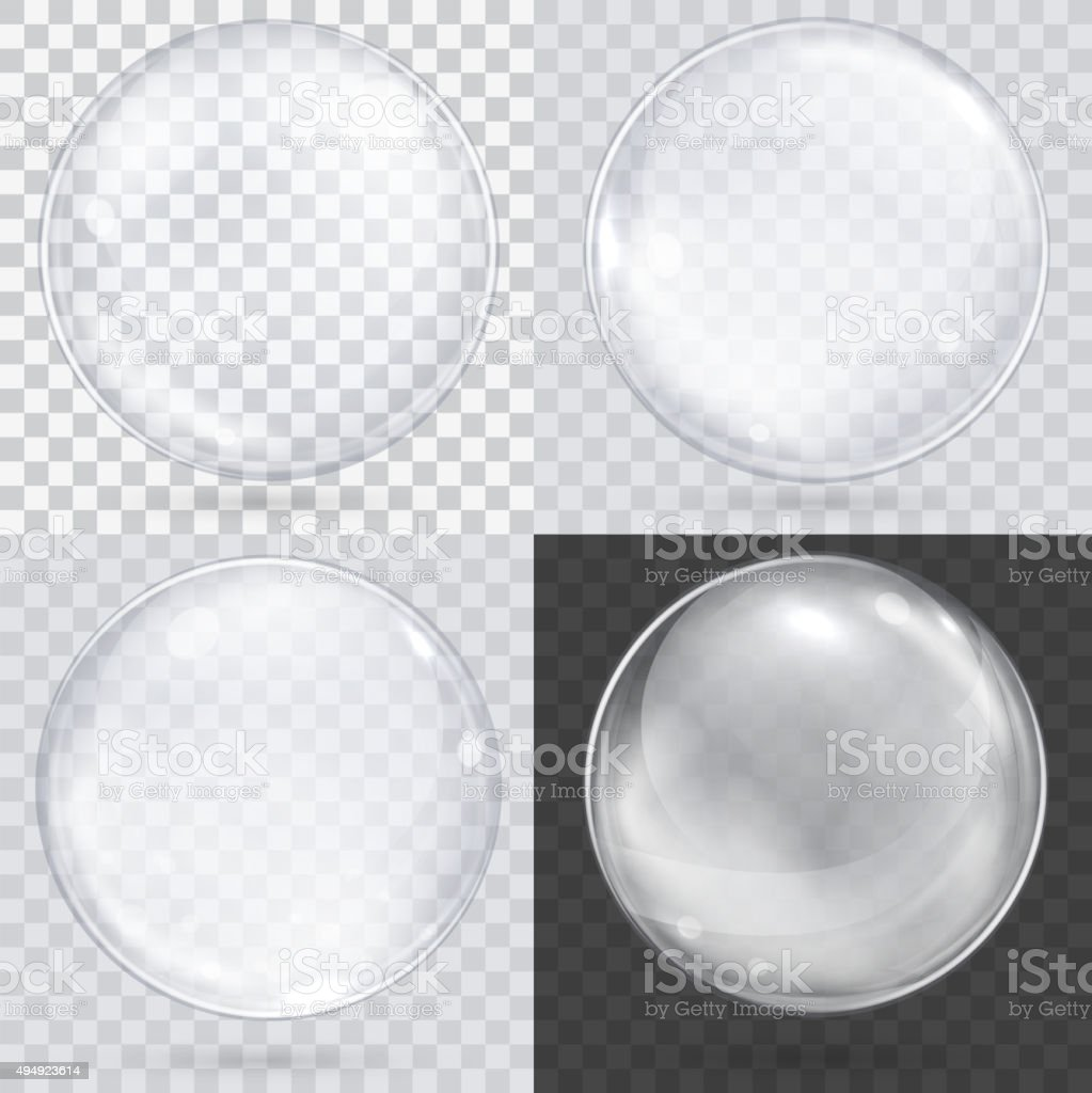 White transparent glass sphere on a checkered background. Set of vector art illustration