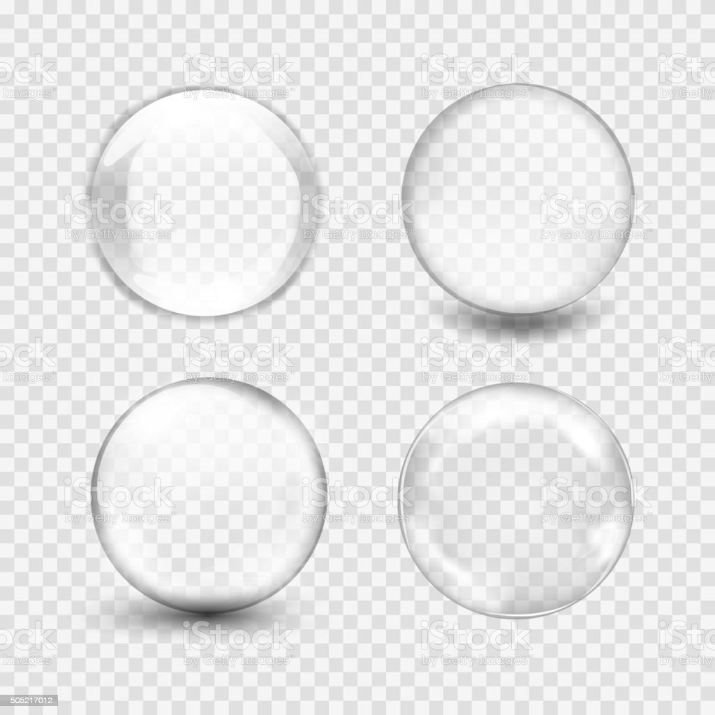 white transparent glass sphere with glares and highlights vector art illustration