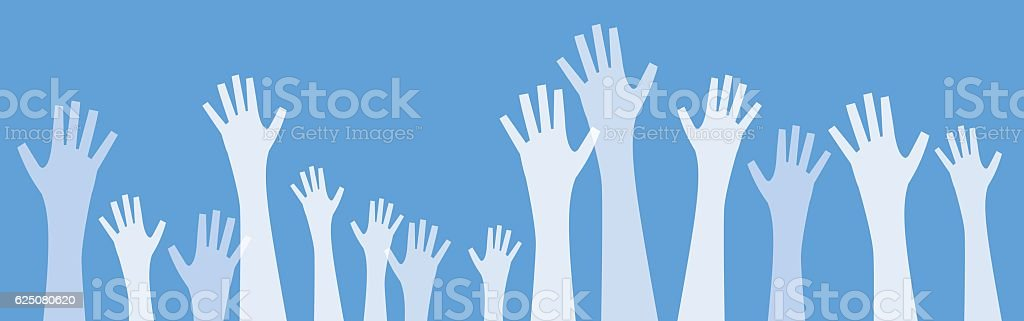 White Transparent Hands Reaching Up vector art illustration