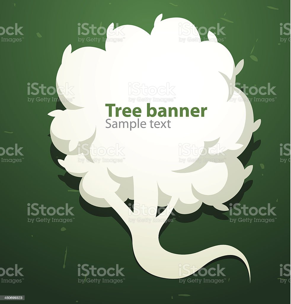 White tree banner like speech bubble on the left royalty-free stock vector art