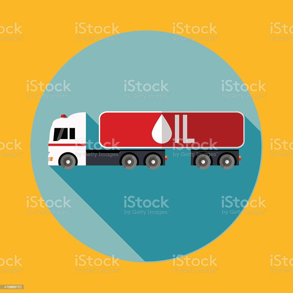 White truck with a red trailer carrying oil. Flat icon. vector art illustration