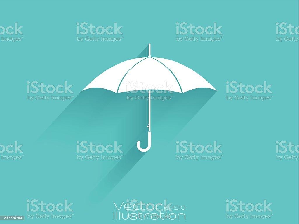 White umbrella icon on blue background - EPS10 vector art illustration