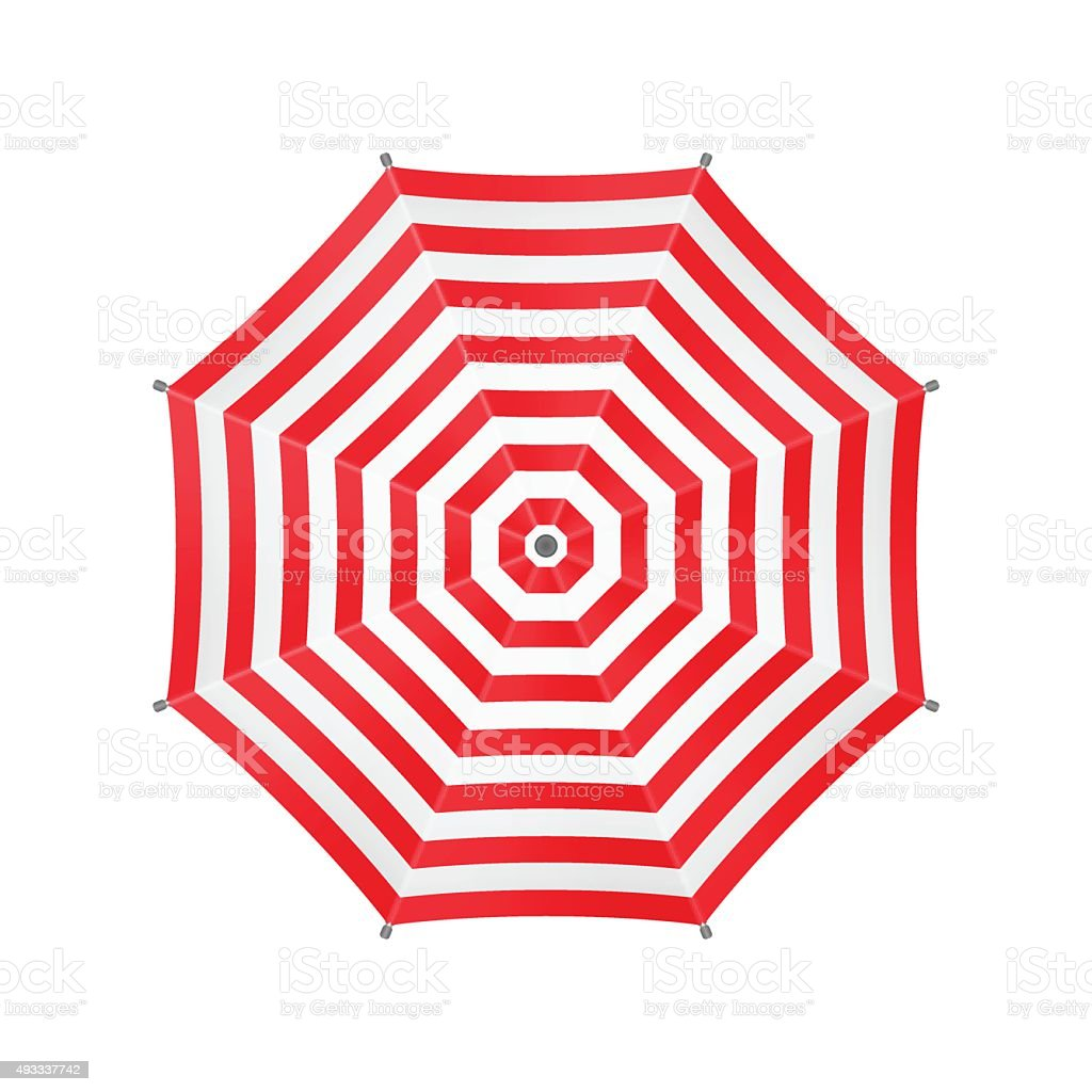 White Umbrella With Red Stripes. Top View. Template For Your vector art illustration