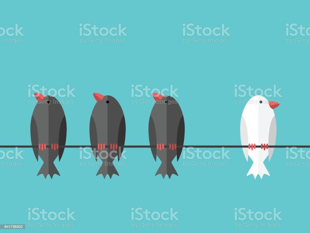 White unique independent bird vector art illustration