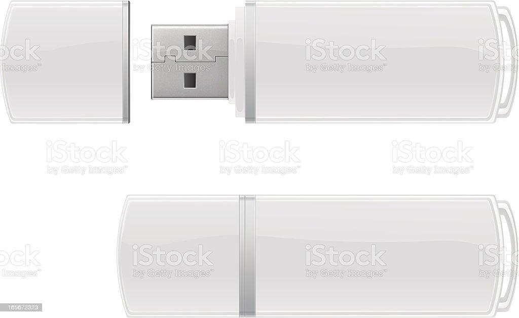 White USB flash storage vector art illustration
