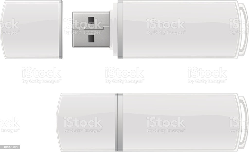White USB flash storage vector art illustration