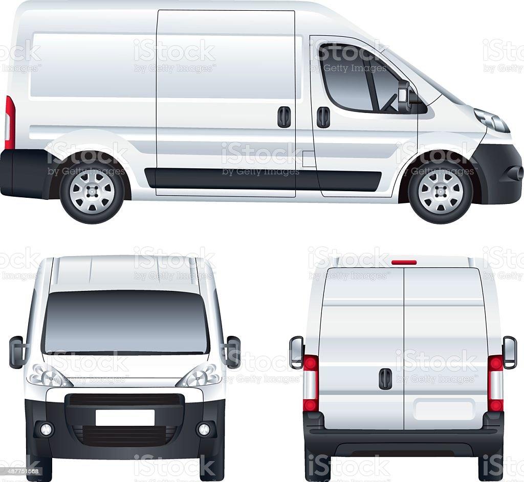 White vector delivery van vector art illustration
