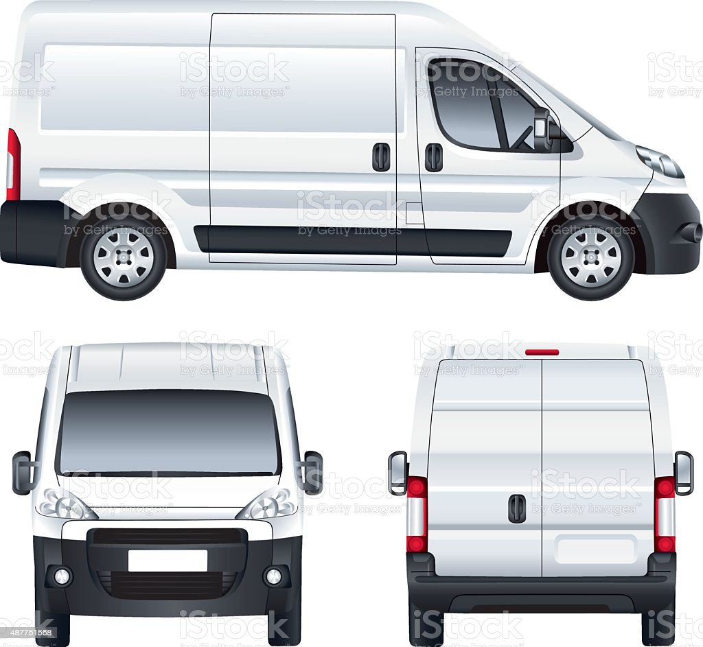 White vector delivery van vector art illustration