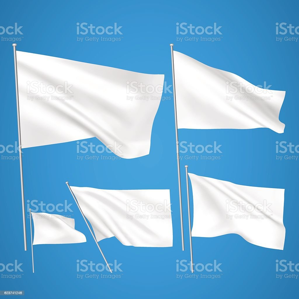 White vector flags on blue background vector art illustration