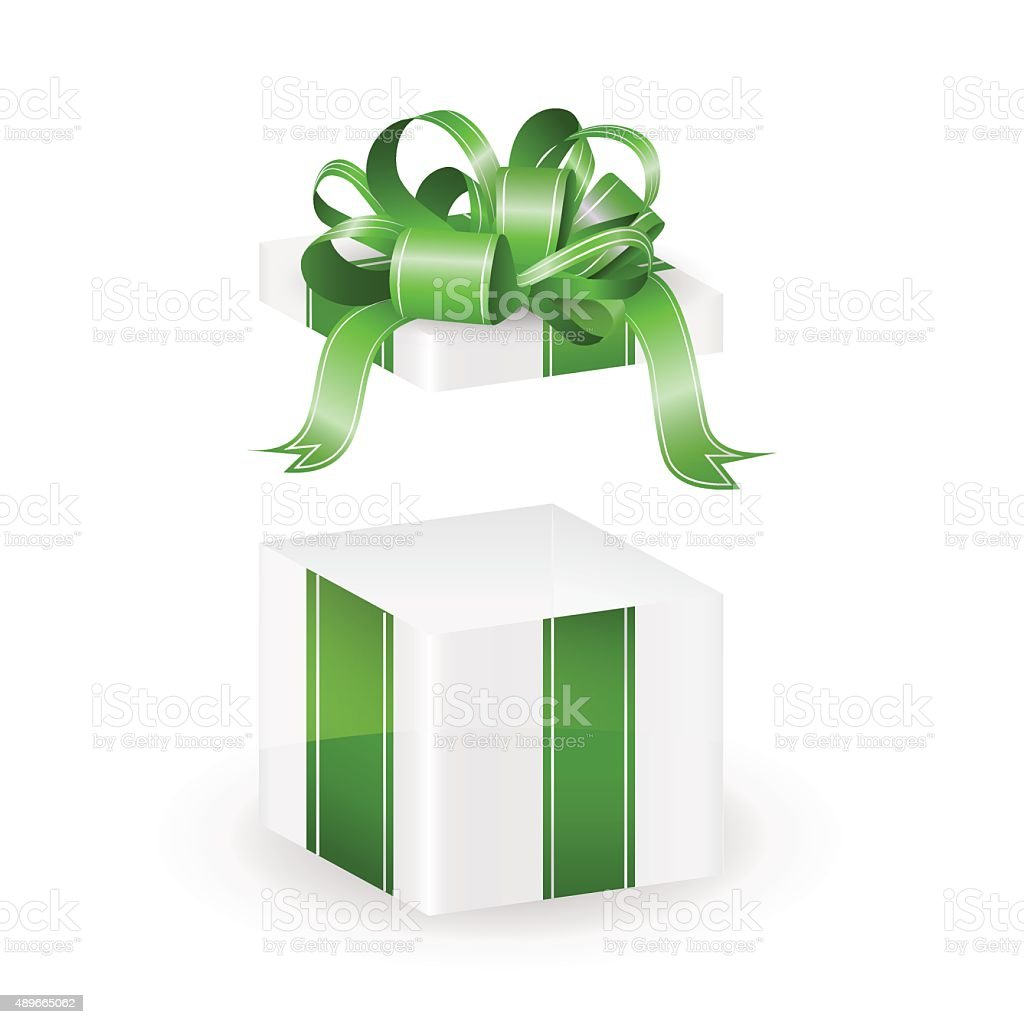 White vector gift box with green ribbon isolated vector art illustration