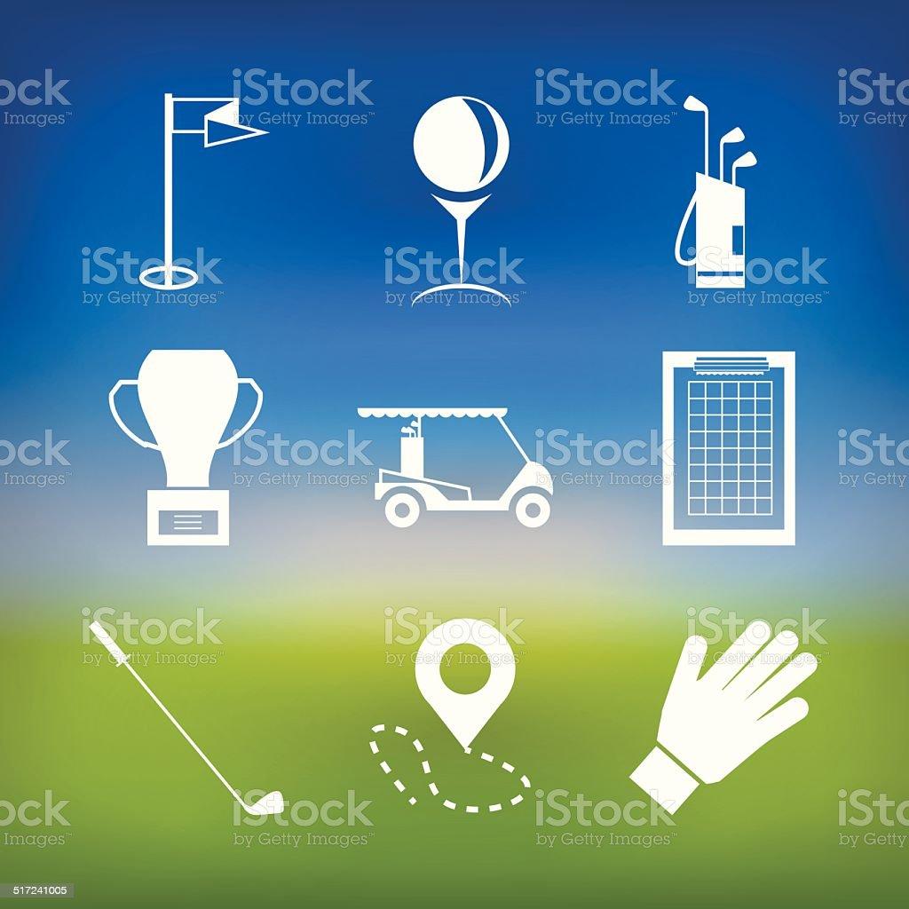 White vector icons for golf vector art illustration