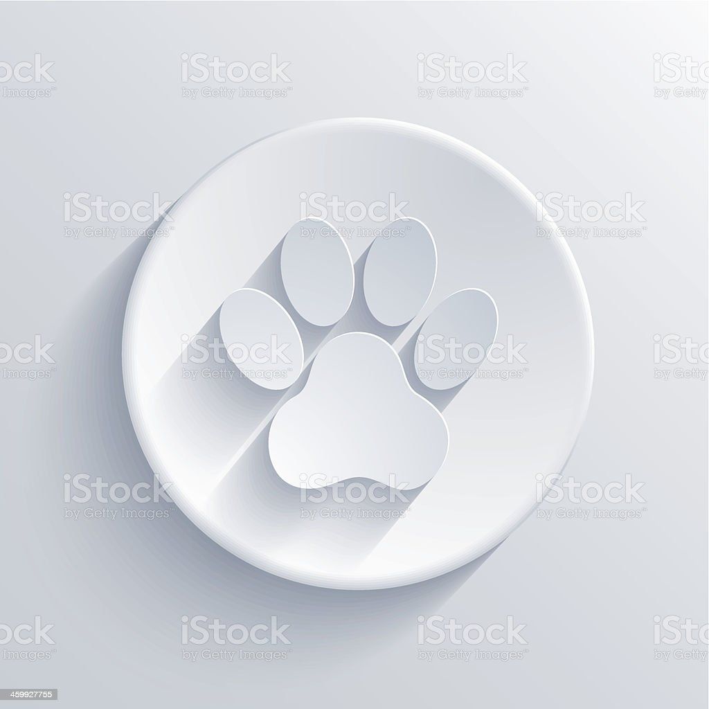 White vector of paw print on circle vector art illustration