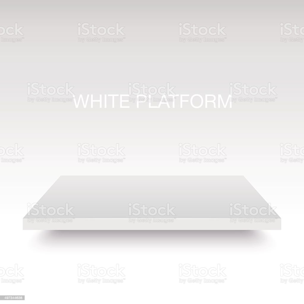 White vector platform stand. vector art illustration