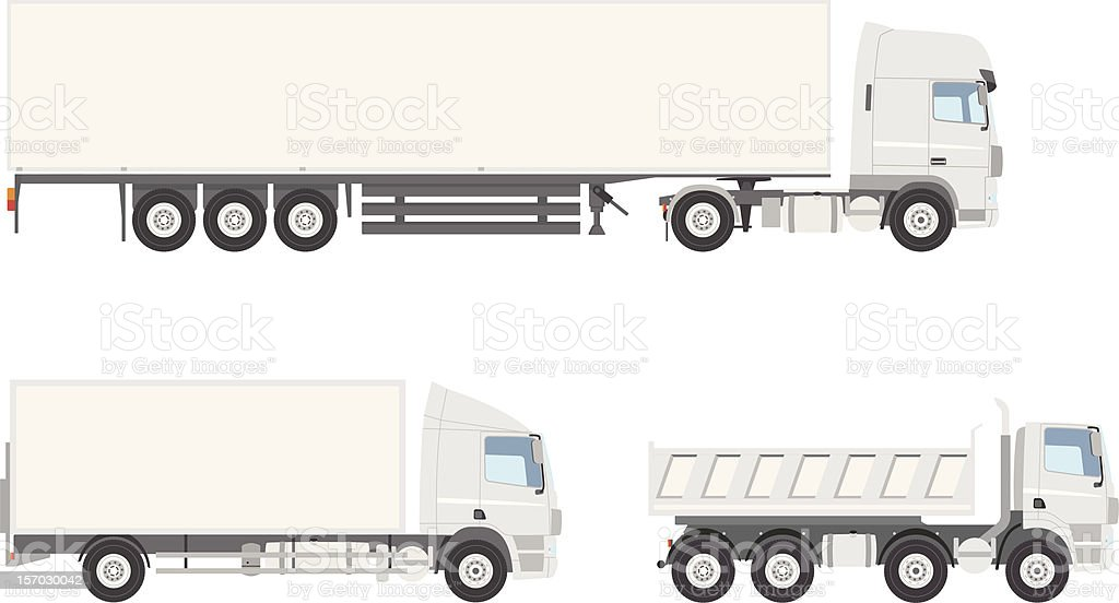 White Vector Trucks vector art illustration