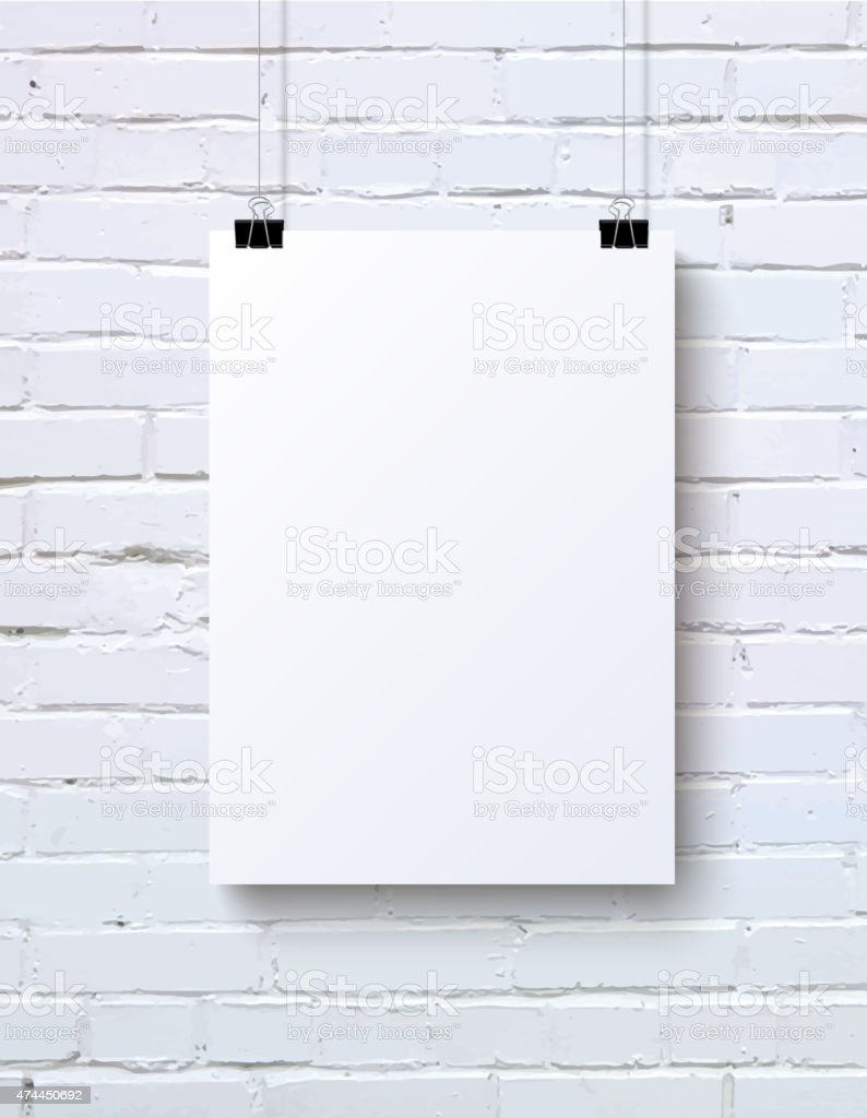White vertical blank piece of paper on the white brick vector art illustration