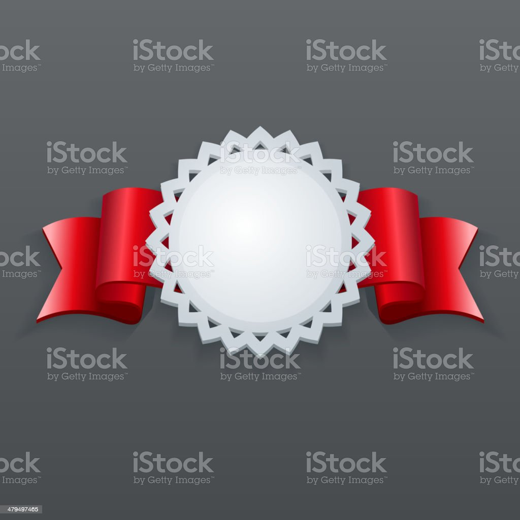 White Vintage Paper Label with Nice Red Ribbons. royalty-free stock vector art