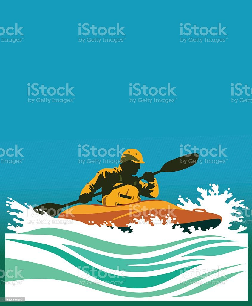 White Water Kayaking Competition vector art illustration