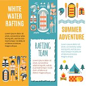 White water rafting - Set of vertical banners