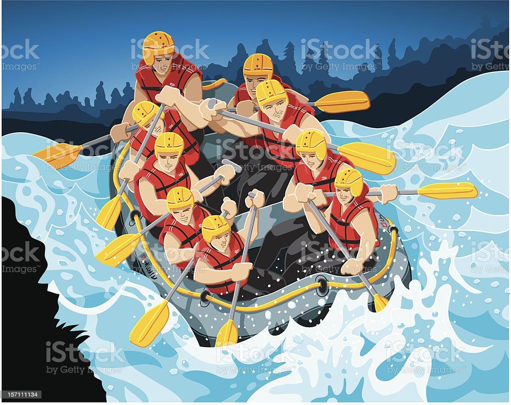 White Water Rafting vector art illustration