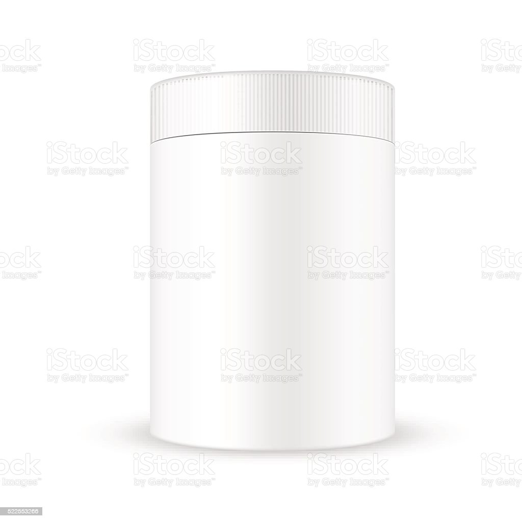 White wide round container with ribbed screw cap/lid vector art illustration