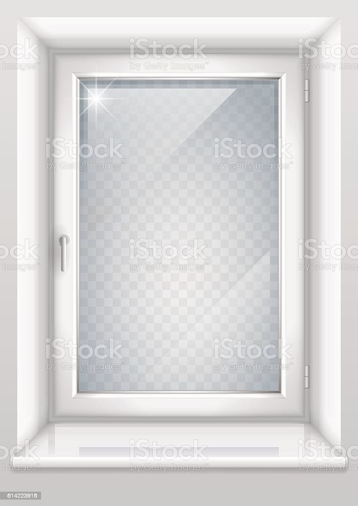 White window with transparent glass vector art illustration