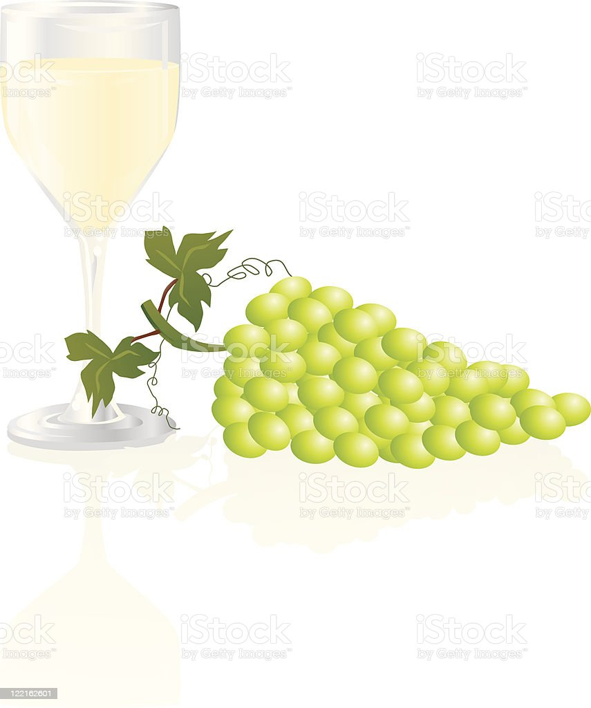 White Wine and Grapes vector art illustration