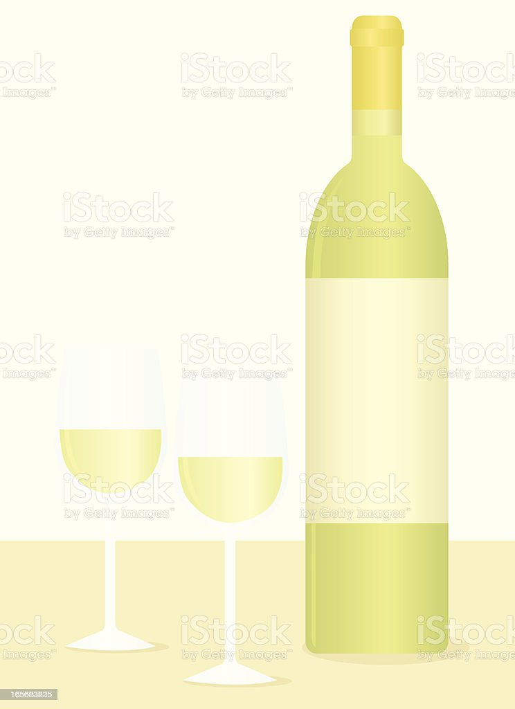 White Wine Bottle and Glasses royalty-free stock vector art