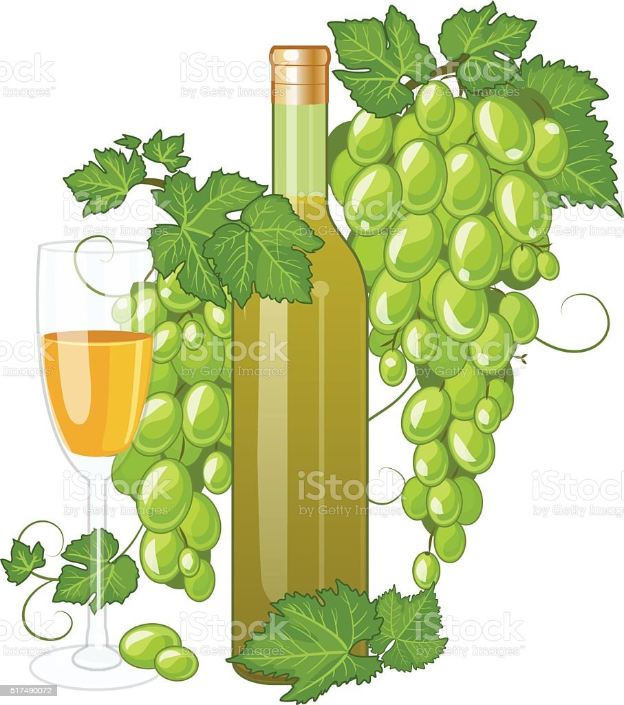 White wine bottle and wineglass vector art illustration