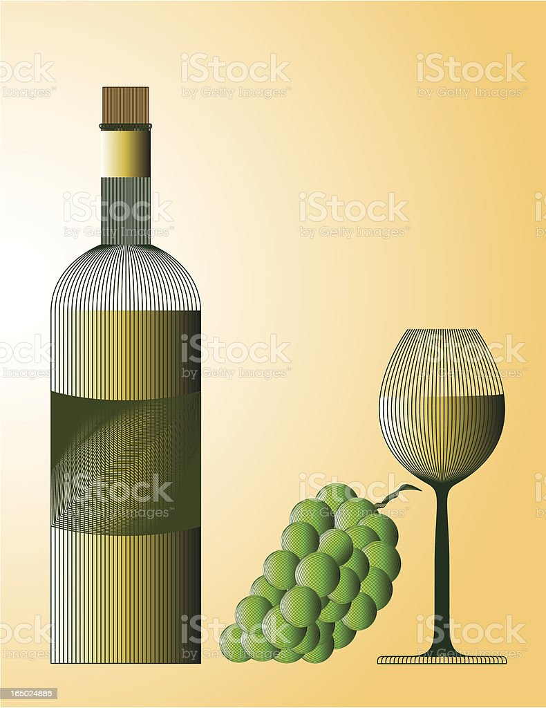 white wine  bottle, grape and glass (eps) vector art illustration