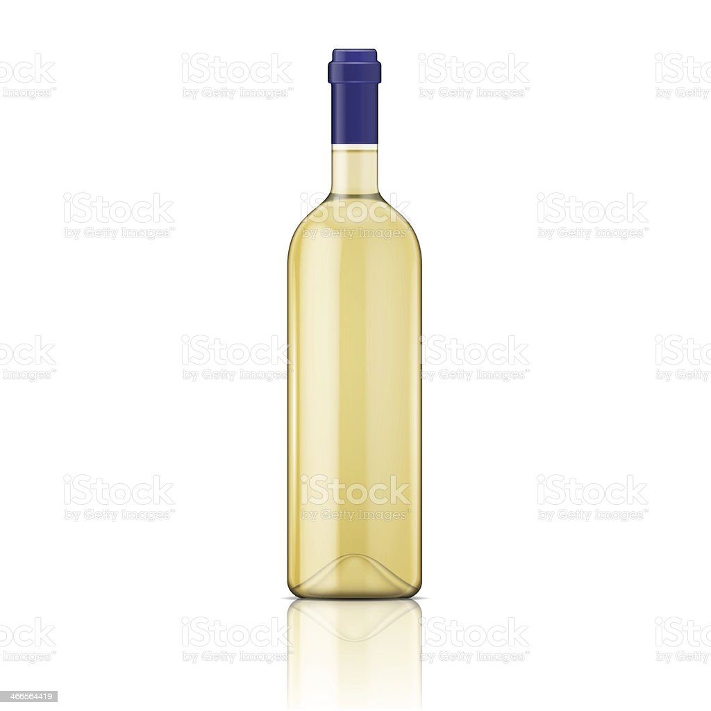 White wine bottle. vector art illustration