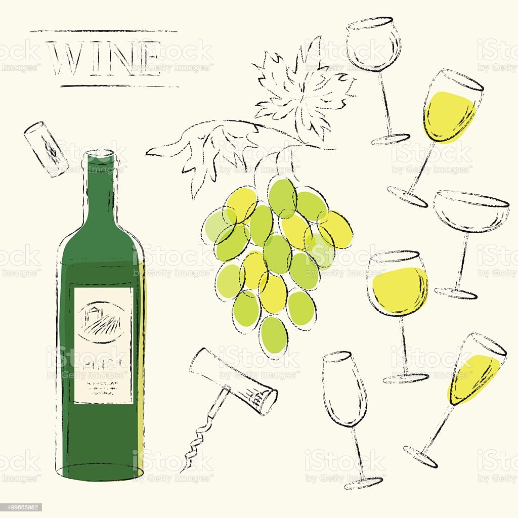 White wine bottle, wine grapes, cork, corkscrew and wine glasses vector art illustration