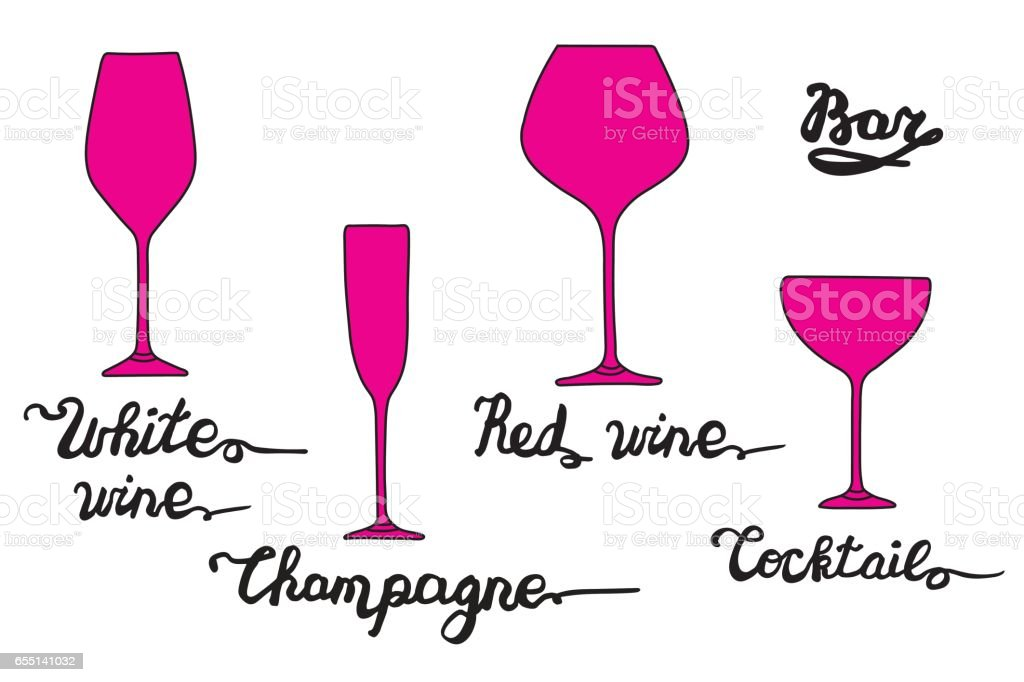 White wine glass, Champagne glass, Cocktail glass, Red wine glass. Various types of glasses with hand drawn inscriptions. Vector bar set vector art illustration