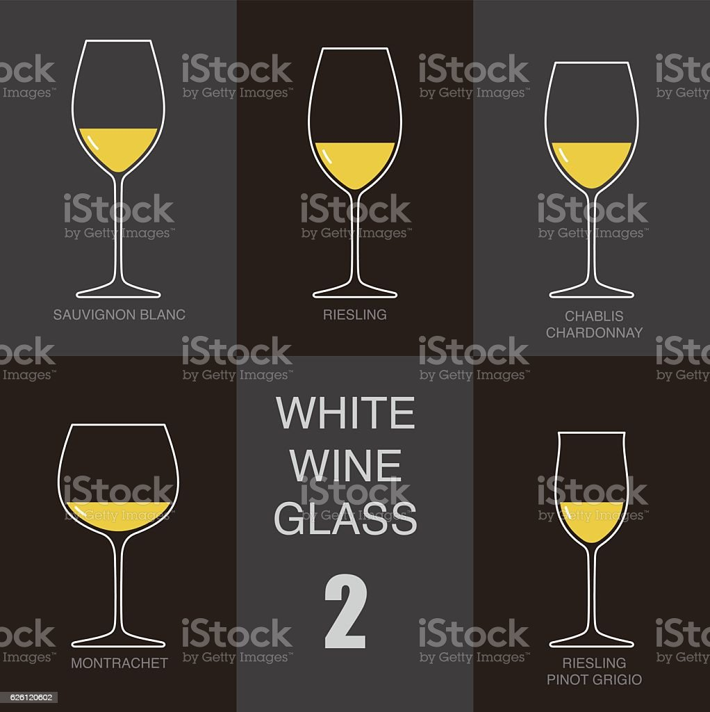 white wine glass cup flat icon design vector art illustration