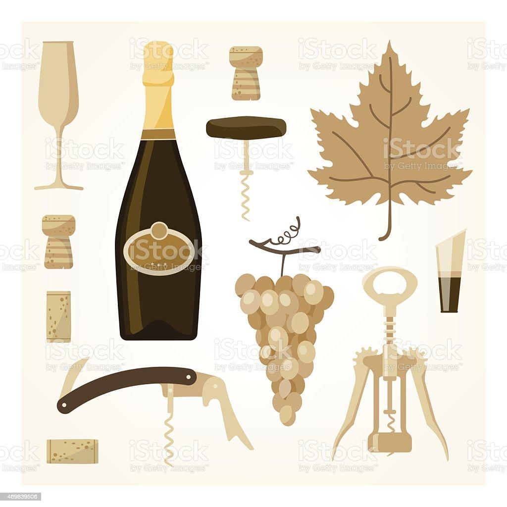 White wine icons against white background vector art illustration