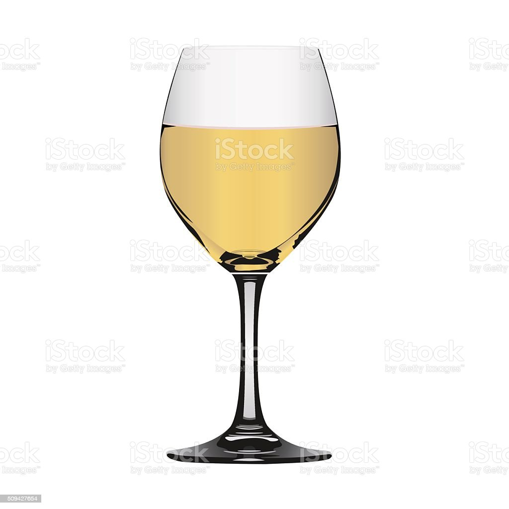 White wine in glass vector art illustration