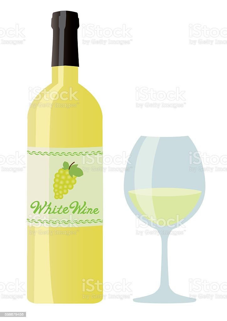 White wine set vector art illustration