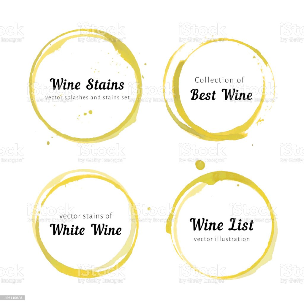 White Wine stain circles vector art illustration