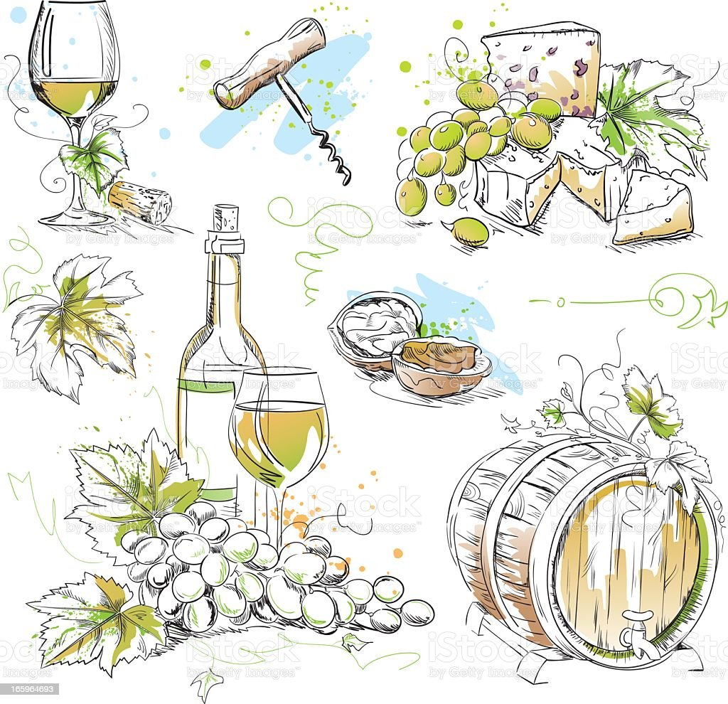 White Wine Tasting Drawings royalty-free stock vector art