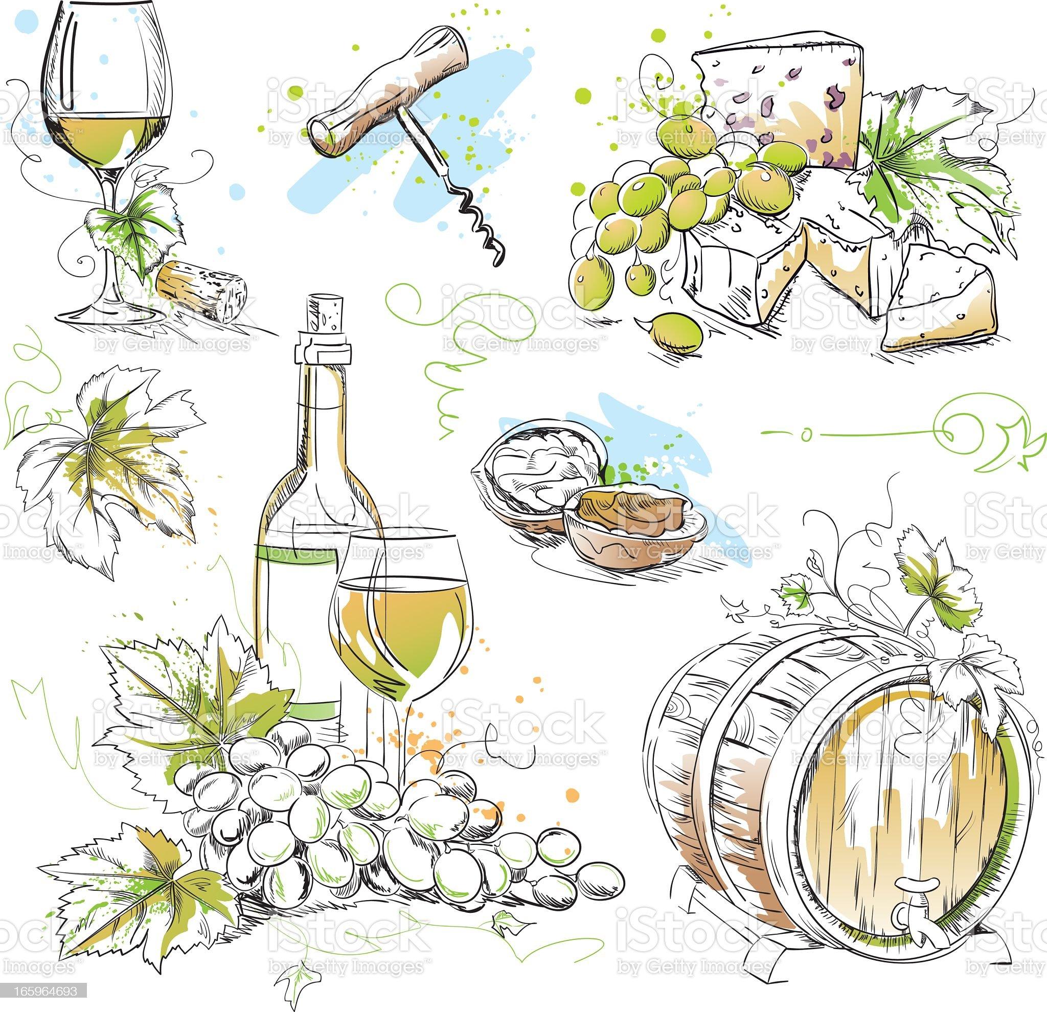 White Wine Tasting Drawings royalty-free stock vector art