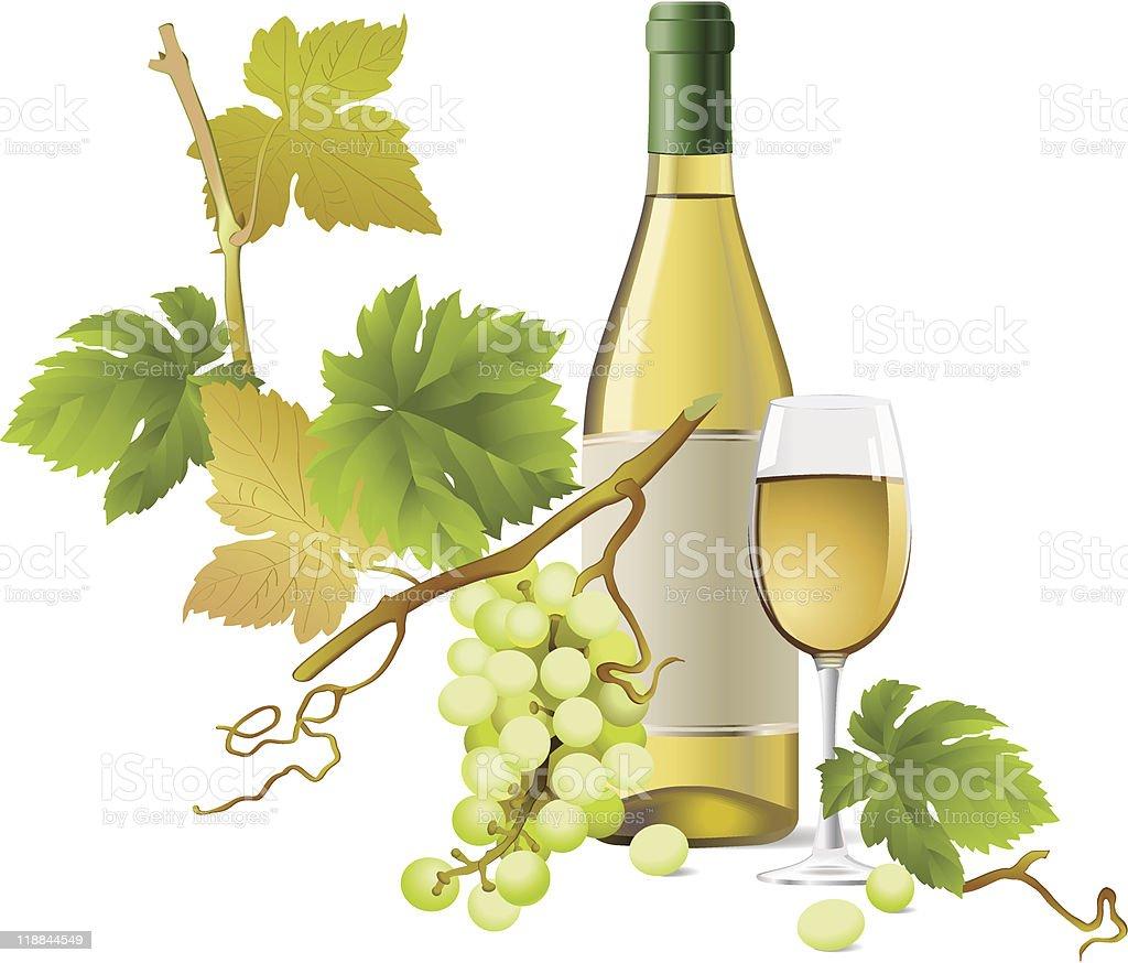 White wine vector art illustration