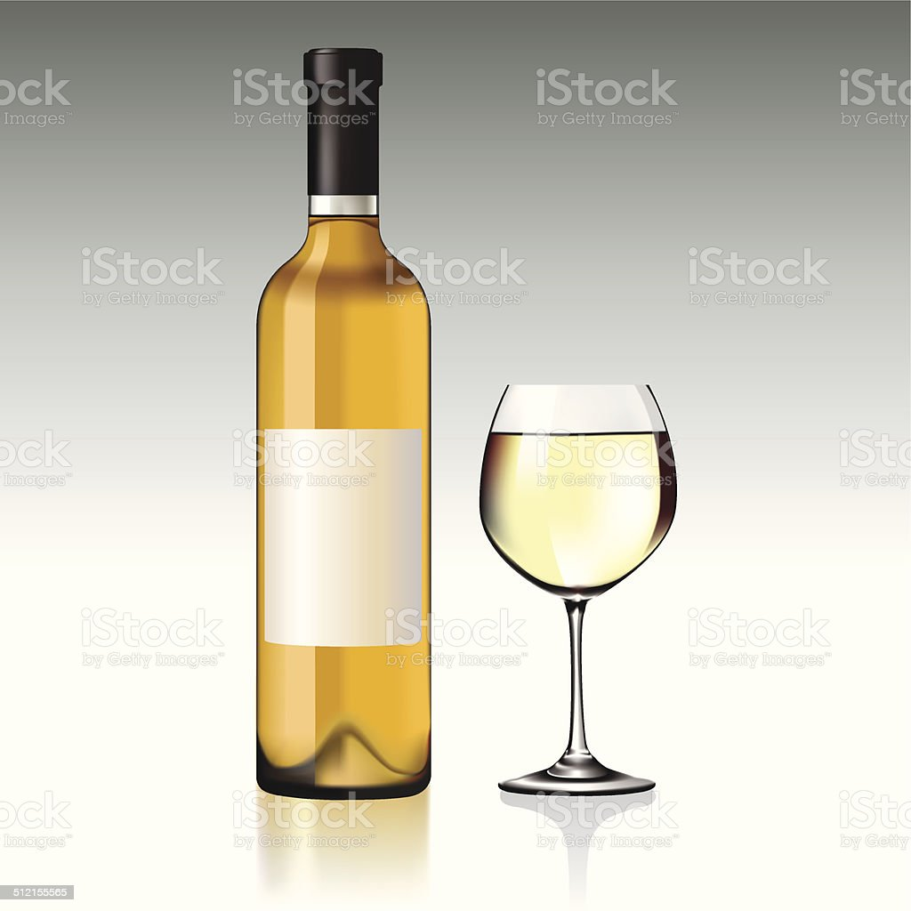 White wine vector art illustration