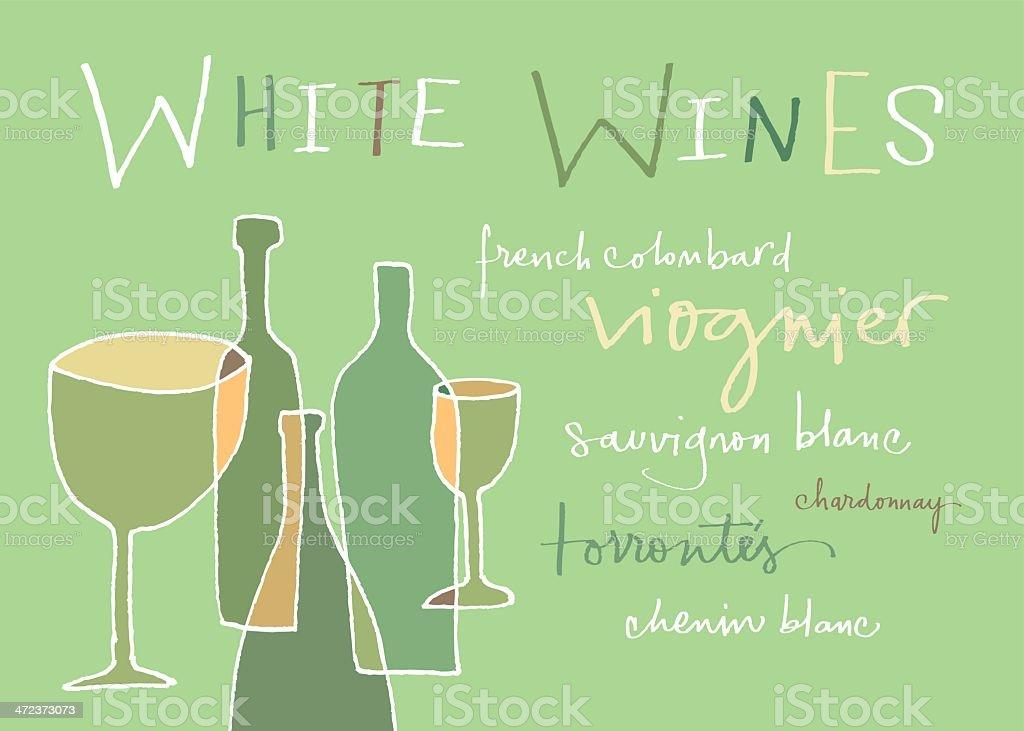 White wines varieties vector art illustration