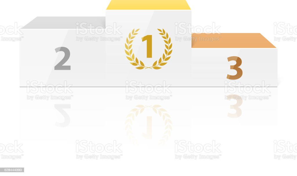 White winners podium vector art illustration