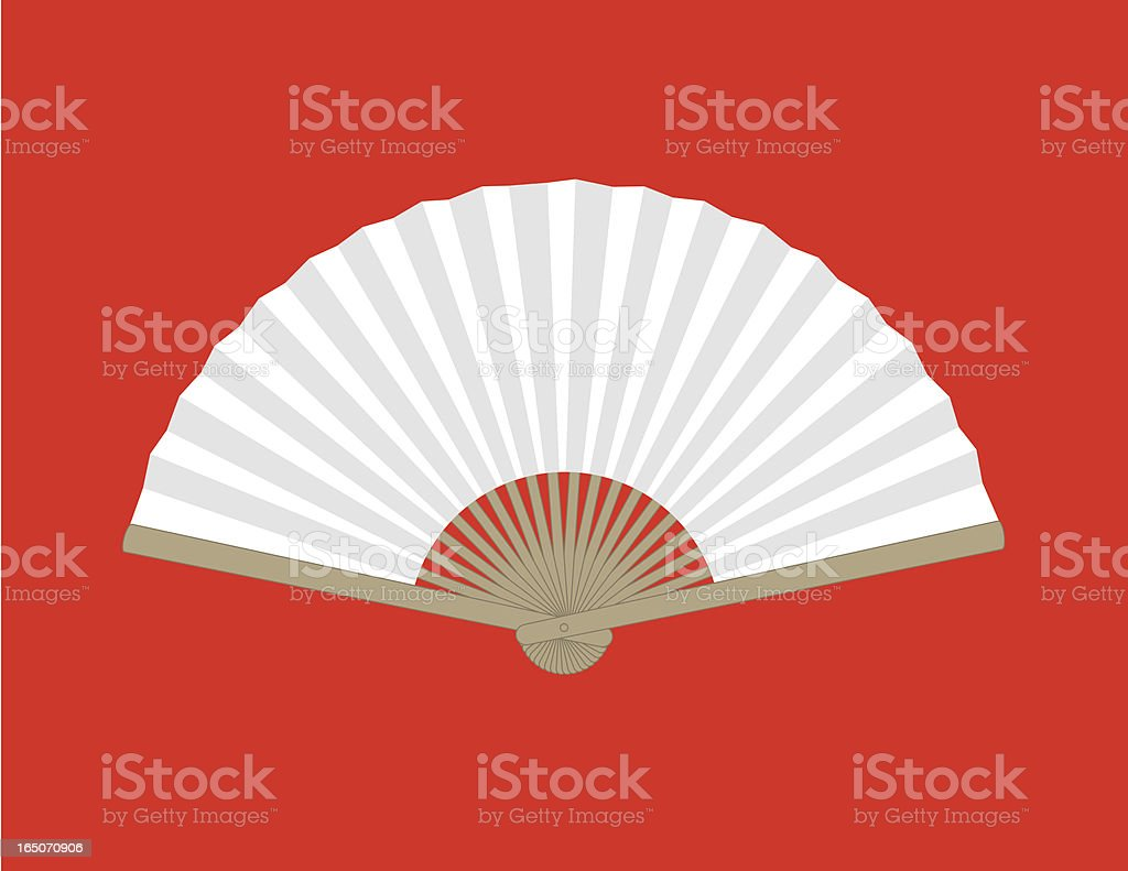 White wooden Chinese folding fan on red background royalty-free stock vector art